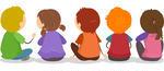 illustration-of-backview-of-little-kids-sitting-on-the-ground_133921205