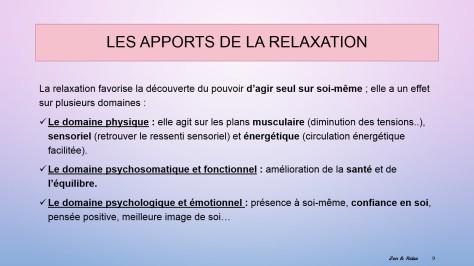 les apports de la relax 1